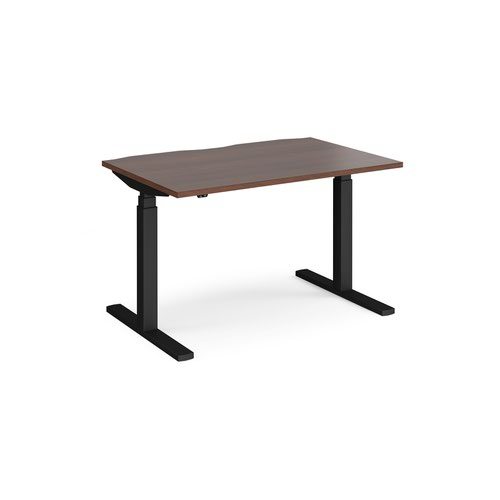 Elev8 Touch straight sit-stand desk 1200mm x 800mm - black frame and walnut top