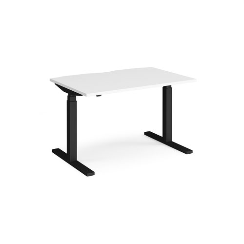 Elev8 Touch straight sit-stand desk 1200mm x 800mm - black frame and white top