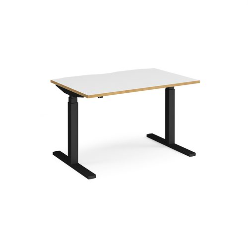 Elev8 Touch straight sit-stand desk 1200mm x 800mm - black frame and white top with oak edge