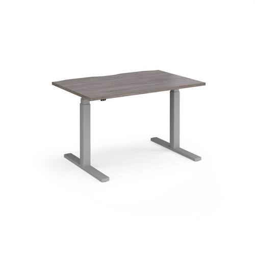Elev8 Touch straight sit-stand desk 1200mm x 800mm - silver frame and grey oak top