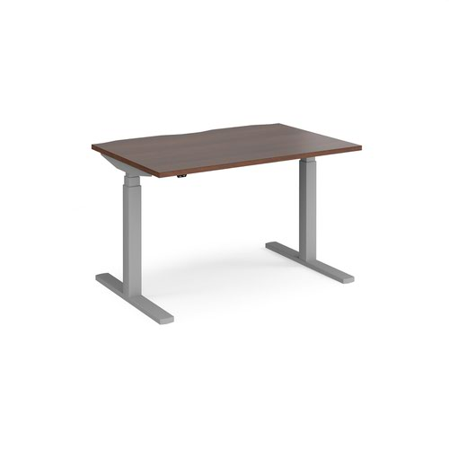 Elev8 Touch straight sit-stand desk 1200mm x 800mm - silver frame and walnut top