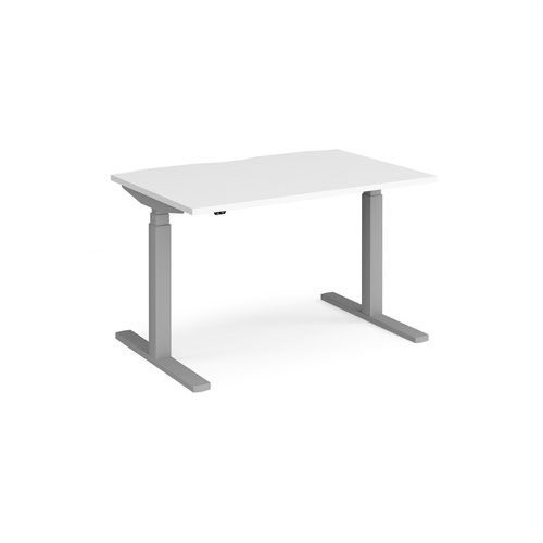 Elev8 Touch straight sit-stand desk 1200mm x 800mm - silver frame and white top