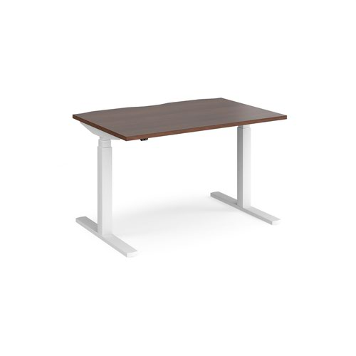Elev8 Touch straight sit-stand desk 1200mm x 800mm - white frame and walnut top