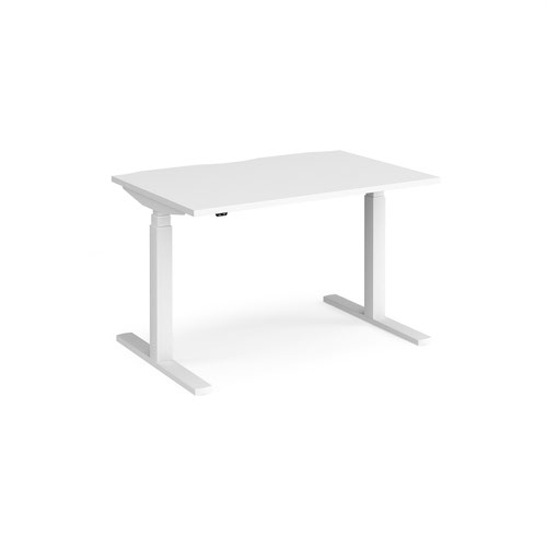 Elev8 Touch straight sit-stand desk 1200mm x 800mm - white frame and white top