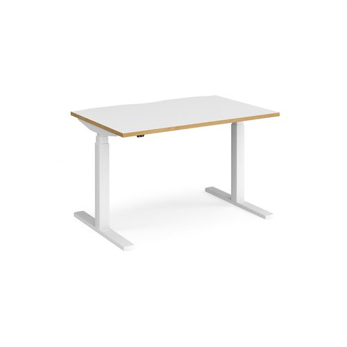 Elev8 Touch straight sit-stand desk 1200mm x 800mm - white frame and white top with oak edge