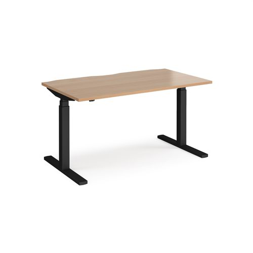 Elev8 Touch straight sit-stand desk 1400mm x 800mm - black frame and beech top