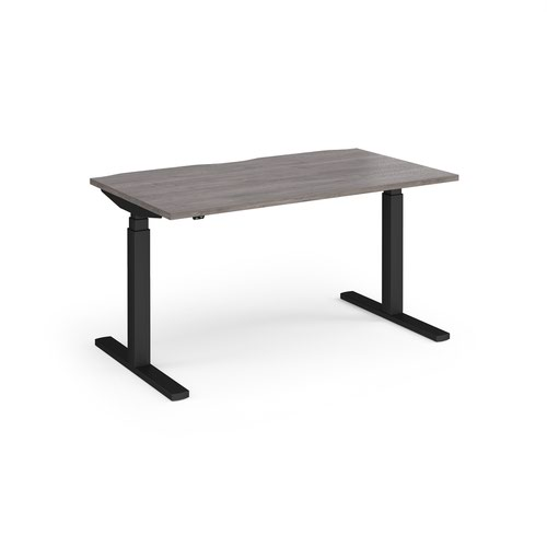 Elev8 Touch straight sit-stand desk 1400mm x 800mm - black frame and grey oak top