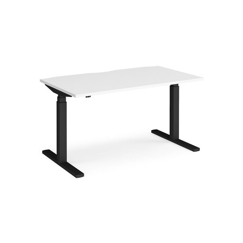 Elev8 Touch straight sit-stand desk 1400mm x 800mm - black frame and white top