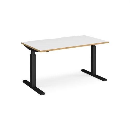 Elev8 Touch straight sit-stand desk 1400mm x 800mm - black frame and white top with oak edge
