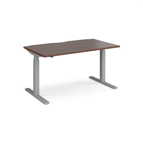 Elev8 Touch straight sit-stand desk 1400mm x 800mm - silver frame and walnut top
