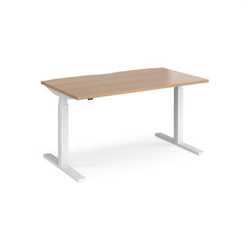 Elev8 Touch straight sit-stand desk 1400mm x 800mm - white frame and beech top
