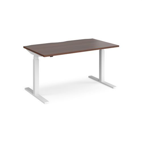 Elev8 Touch straight sit-stand desk 1400mm x 800mm - white frame and walnut top