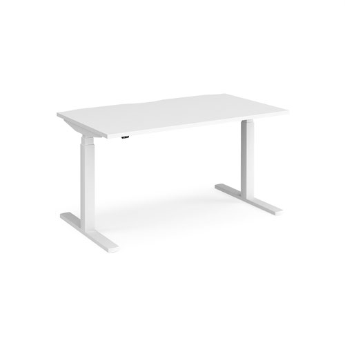 Elev8 Touch straight sit-stand desk 1400mm x 800mm - white frame and white top
