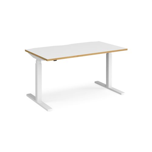 Elev8 Touch straight sit-stand desk 1400mm x 800mm - white frame and white top with oak edge