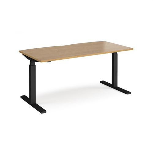 Elev8 Touch straight sit-stand desk 1600mm x 800mm - black frame and oak top