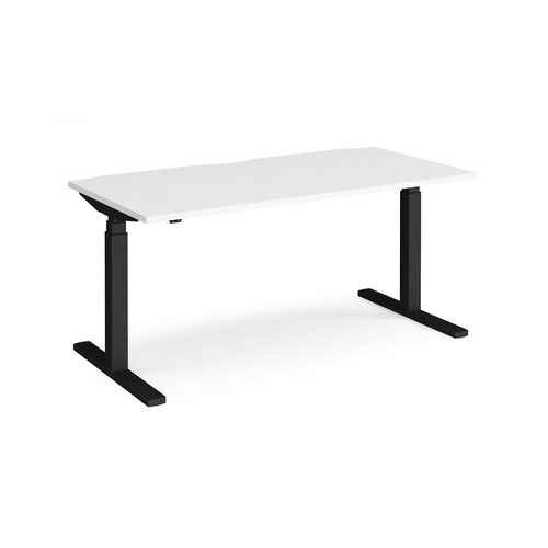 Elev8 Touch straight sit-stand desk 1600mm x 800mm - black frame and white top