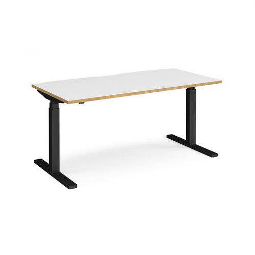 Elev8 Touch straight sit-stand desk 1600mm x 800mm - black frame and white top with oak edge