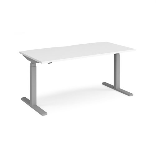 Elev8 Touch straight sit-stand desk 1600mm x 800mm - silver frame and white top