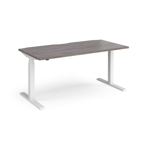 Elev8 Touch straight sit-stand desk 1600mm x 800mm - white frame and grey oak top