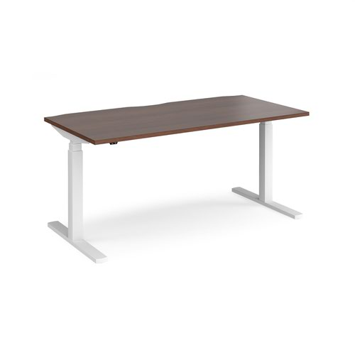 Elev8 Touch straight sit-stand desk 1600mm x 800mm - white frame and walnut top