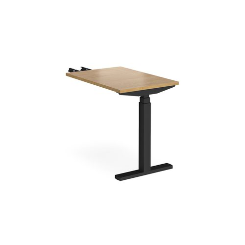 Elev8 Touch sit-stand return desk 600mm x 800mm - black frame and oak top