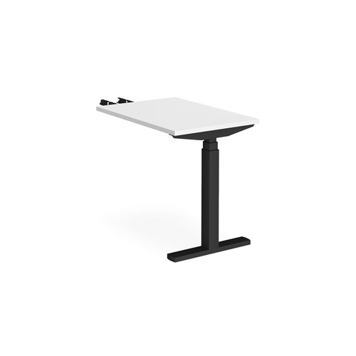 Elev8 Touch sit-stand return desk 600mm x 800mm - black frame and white top