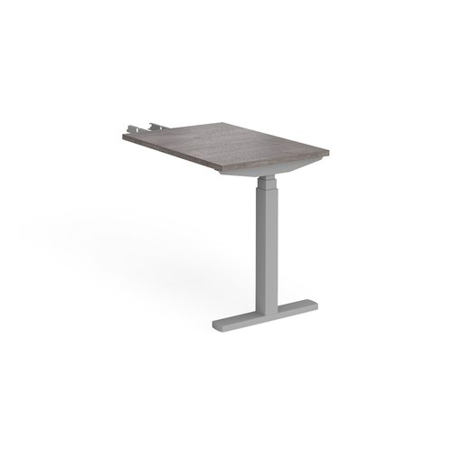 Elev8 Touch sit-stand return desk 600mm x 800mm - silver frame and grey oak top