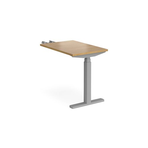 Elev8 Touch sit-stand return desk 600mm x 800mm - silver frame and oak top