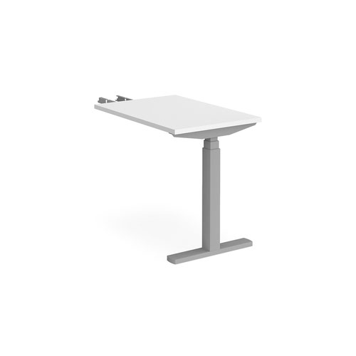 Elev8 Touch sit-stand return desk 600mm x 800mm - silver frame and white top