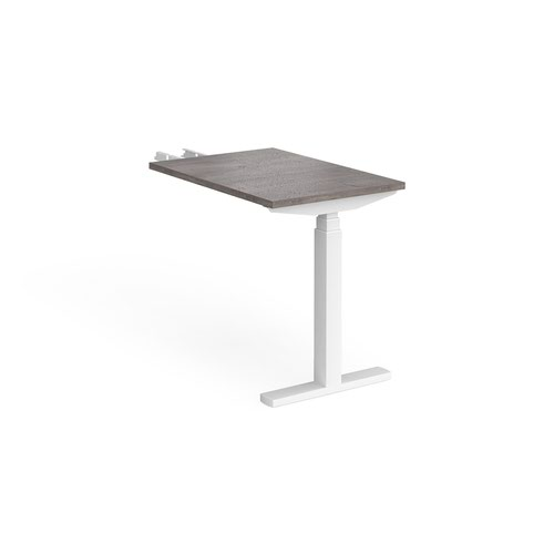 Elev8 Touch sit-stand return desk 600mm x 800mm - white frame and grey oak top