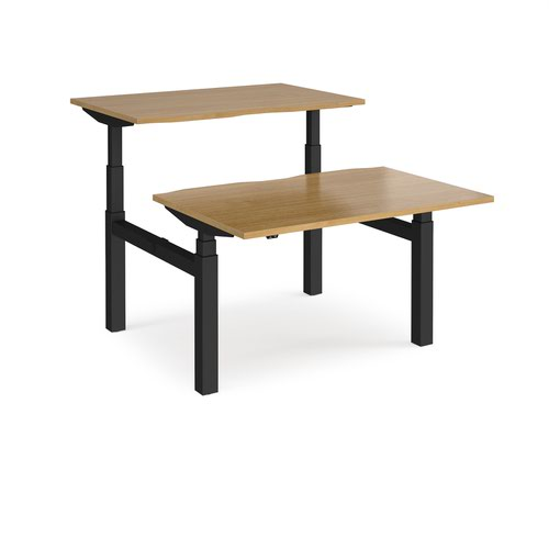 Elev8 Touch sit-stand back-to-back desks 1200mm x 1650mm - black frame and oak top