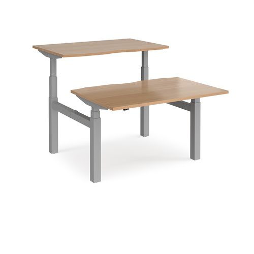 Elev8 Touch sit-stand back-to-back desks 1200mm x 1650mm - silver frame and beech top