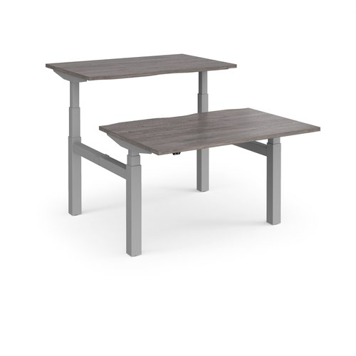 Elev8 Touch sit-stand back-to-back desks 1200mm x 1650mm - silver frame and grey oak top
