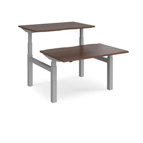 Elev8 Touch sit-stand back-to-back desks 1200mm x 1650mm - silver frame and walnut top