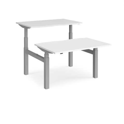 Elev8 Touch sit-stand back-to-back desks 1200mm x 1650mm - silver frame and white top