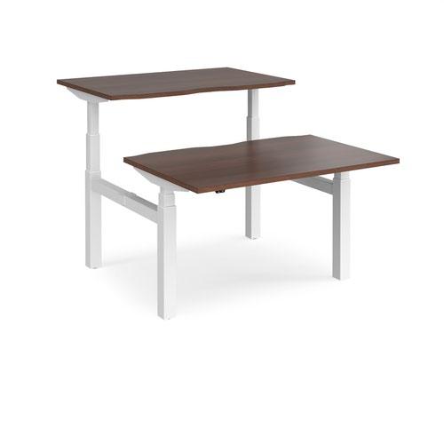 Elev8 Touch sit-stand back-to-back desks 1200mm x 1650mm - white frame and walnut top