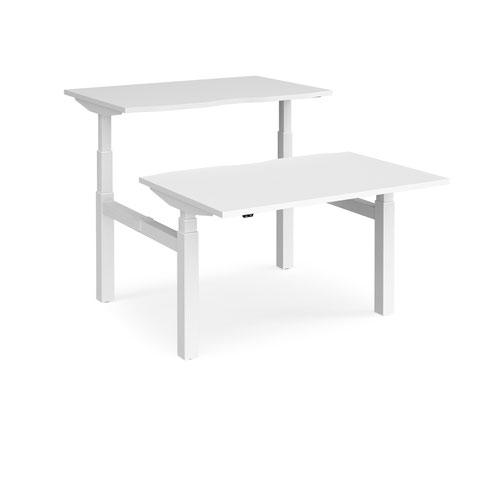 Elev8 Touch sit-stand back-to-back desks 1200mm x 1650mm - white frame and white top