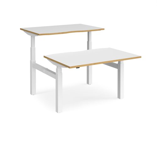 Elev8 Touch sit-stand back-to-back desks 1200mm x 1650mm - white frame and white top with oak edge