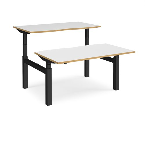 Elev8 Touch sit-stand back-to-back desks 1400mm x 1650mm - black frame and white top with oak edge