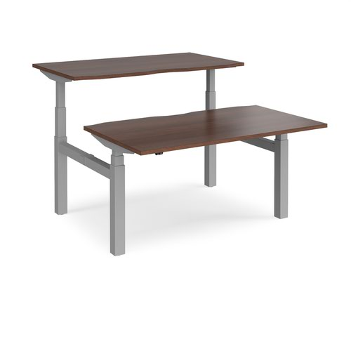 Elev8 Touch sit-stand back-to-back desks 1400mm x 1650mm - silver frame and walnut top