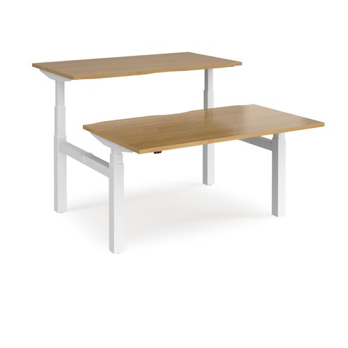 Elev8 Touch sit-stand back-to-back desks 1400mm x 1650mm - white frame and oak top