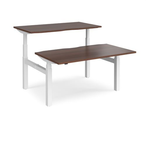 Elev8 Touch sit-stand back-to-back desks 1400mm x 1650mm - white frame and walnut top