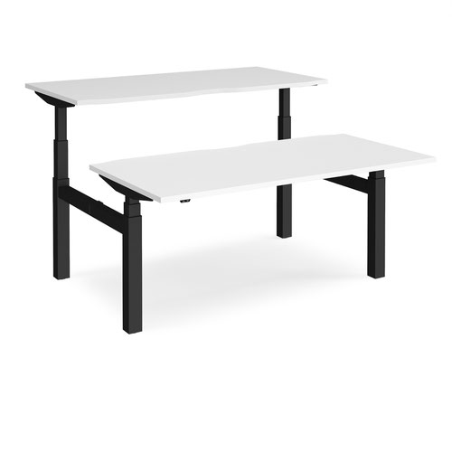 Elev8 Touch sit-stand back-to-back desks 1600mm x 1650mm - black frame and white top