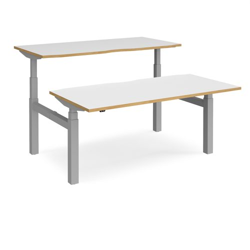 Elev8 Touch sit-stand back-to-back desks 1600mm x 1650mm - silver frame and white top with oak edge