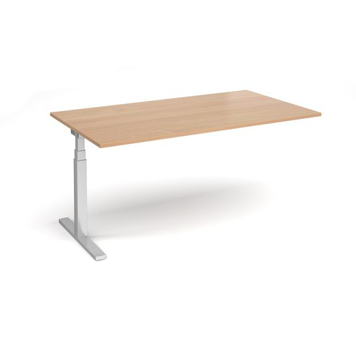 Elev8 Touch boardroom table add on unit 1800mm x 1000mm - silver frame and beech top