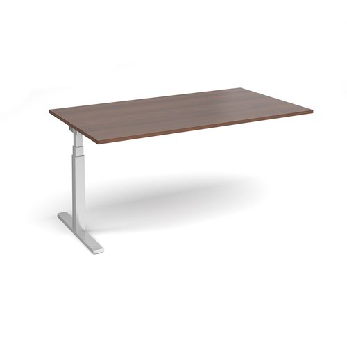 Elev8 Touch boardroom table add on unit 1800mm x 1000mm - silver frame and walnut top