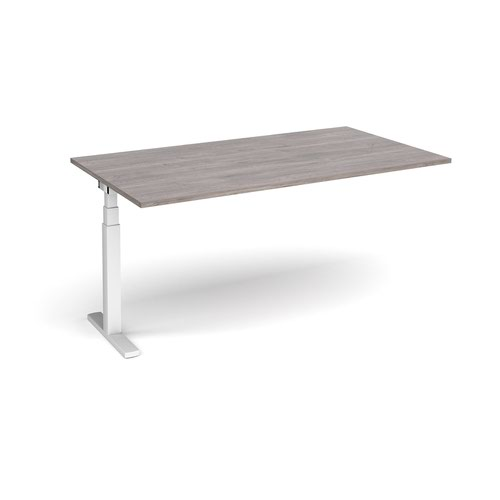 Elev8 Touch boardroom table add on unit 1800mm x 1000mm - white frame and grey oak top