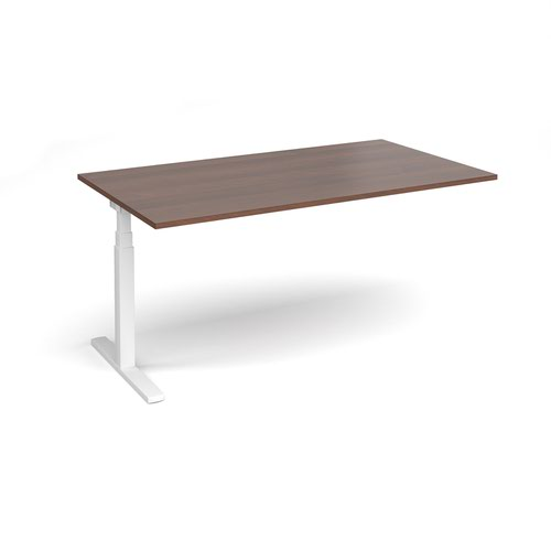 Elev8 Touch boardroom table add on unit 1800mm x 1000mm - white frame and walnut top