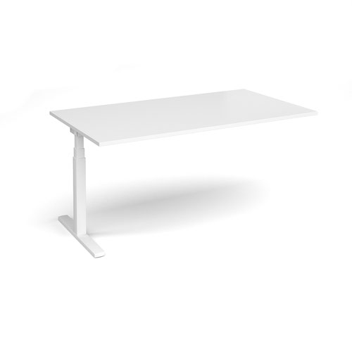 Elev8 Touch boardroom table add on unit 1800mm x 1000mm - white frame and white top