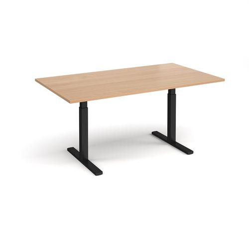 Elev8 Touch boardroom table 1800mm x 1000mm - black frame and beech top